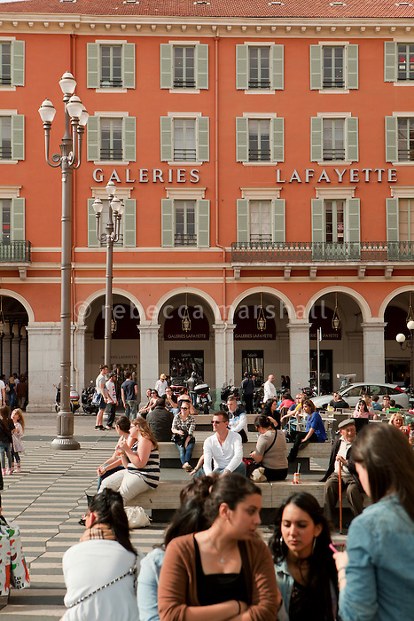 Galeries Lafayette department store seen from Place Massena, Nice, France, 28 April 2012