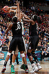 01 APRIL 2012:  Brittney Griner (42) of Baylor University is defended by Nnemkadi Ogwumike (30) and Chiney Ogwumike (13) of Stanford University during the Division I Women's Final Four semifinals at the Pepsi Center in Denver, CO.  Baylor defeated Stanford 59-47 to advance to the championship final.  Jamie Schwaberow/NCAA Photos