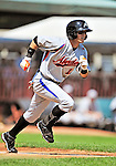 15 July 2010: Aberdeen IronBirds' outfielder Trent Mummey in action against the Vermont Lake Monsters at Centennial Field in Burlington, Vermont. The Lake Monsters rallied in the bottom of the 9th inning to defeat the IronBirds 7-6 notching their league leading 20th win of the 2010 NY Penn League season. Mandatory Credit: Ed Wolfstein Photo