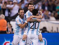 Foxborough, MA - Saturday June 18, 2016: Lionel Messi, Nicolas Gaitan, Gonzalo Higuain during a Copa America Centenario quarterfinal match between Argentina (ARG) and Venezuela (VEN)  at Gillette Stadium.