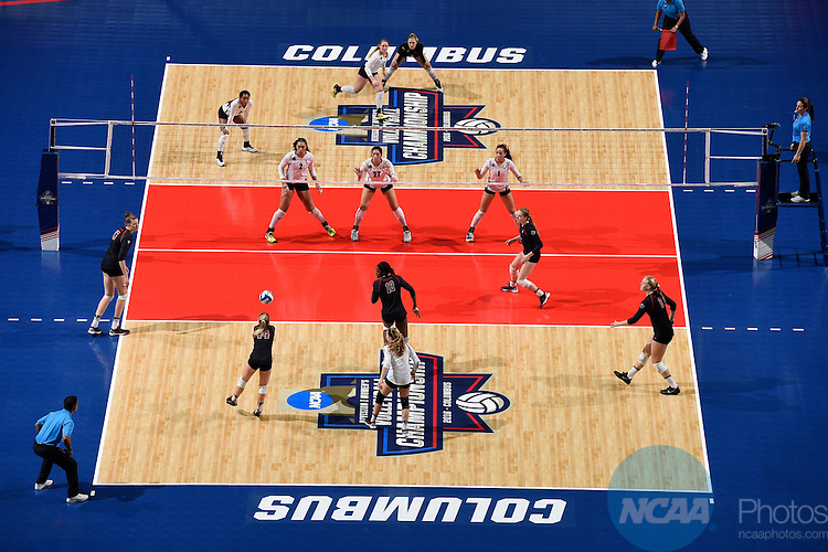 COLUMBUS, OH - DECEMBER 17:  Halland McKenna (14) of Stanford University hits a dig against the University of Texas during the Division I Women's Volleyball Championship held at Nationwide Arena on December 17, 2016 in Columbus, Ohio.  Stanford defeated Texas 3-1 to win the national title. (Photo by Jamie Schwaberow/NCAA Photos via Getty Images)
