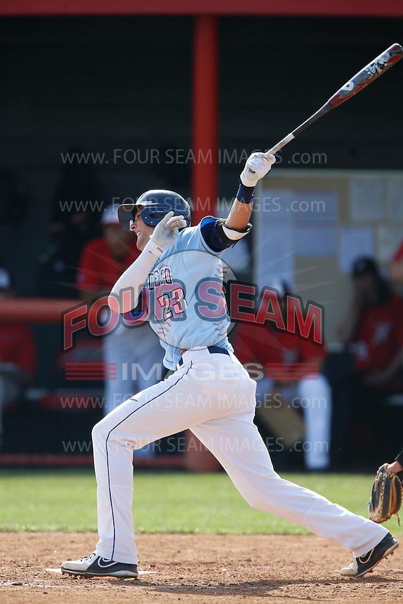 Kris Bryant #23 of the University of San Diego Toreros bats against the Cal State Northridge Matadors at Matador Field on March 26, 2013 in Northridge, California. (Larry Goren/Four Seam Images)