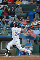 Myrtle Beach Pelicans outfielder Billy McKinney (20) at bat during a game against the Wilmington Blue Rocks at Ticketreturn.com Field at Pelicans Ballpark on April 09, 2015 in Myrtle Beach, South Carolina. Myrtle Beach defeated Wilmington 9-1. (Robert Gurganus/Four Seam Images)