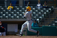 Victor Scott (6) of the West Virginia Mountaineers follows through on his swing against the Illinois Fighting Illini at TicketReturn.com Field at Pelicans Ballpark on February 23, 2020 in Myrtle Beach, South Carolina. The Fighting Illini defeated the Mountaineers 2-1.  (Brian Westerholt/Four Seam Images)