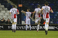 Jack Barthram of Cheltenham Town (2) celebrates after he scores his team's second goal of the game to make the score 0-2 during the Sky Bet League 2 match between Luton Town and Cheltenham Town at Kenilworth Road, Luton, England on 31 January 2017. Photo by David Horn / PRiME Media Images