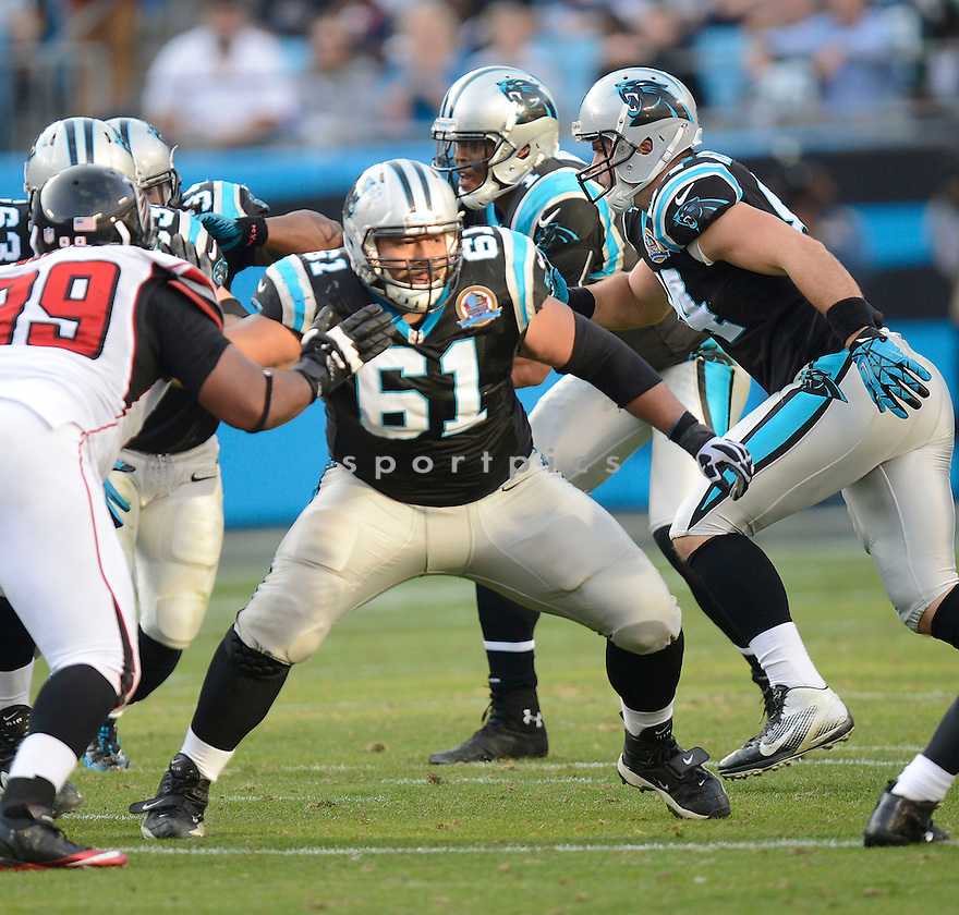 Carolina Panthers Amini Silatolu (61) in action during a game against the Falcons on November 29, 2012 at Bank of America Stadium in Charlotte, NC. The Panthers beat the Falcons 30-20.