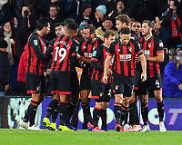 Steve Cook of AFC Bournemouth middle celebrates scoring the second goal with Junior Stanislas of AFC Bournemouth during AFC Bournemouth vs Norwich City, Caraboa Cup Football at the Vitality Stadium on 30th October 2018