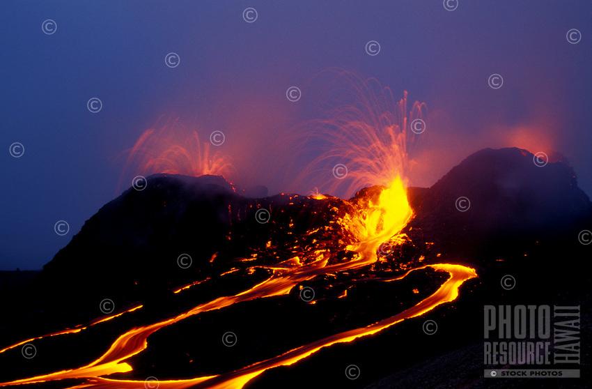 Lava exploding from splatter cones inside Puu oo vent, Kilauea volcano, Big Island