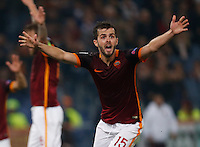 AS Roma's Miralem Pjanic reacts during the Champions League Group E soccer match between As Roma and  Bayer Leverkusen at the Olympic Stadium in Rome, November 04 2015
