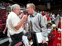 STANFORD, CA - September 2, 2010: Head Coach John Dunning (R) during a volleyball match against UC Irvine in Stanford, California. Stanford won 3-0.