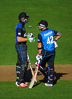 The opening NZ batting partnership of Martin Guptill and Brendon McCullum during the ICC Cricket World Cup one day pool match between the New Zealand Black Caps and England at Wellington Regional Stadium, Wellington, New Zealand on Friday, 20 February 2015. Photo: Dave Lintott / lintottphoto.co.nz