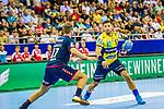 Michael OEHLER (#17 SG Bietigheim)\Alexander PETERSSON (#32 Rhein-Neckar Loewen) \ beim Spiel in der Handball Bundesliga, SG BBM Bietigheim - Rhein Neckar Loewen.<br /> <br /> Foto &copy; PIX-Sportfotos *** Foto ist honorarpflichtig! *** Auf Anfrage in hoeherer Qualitaet/Aufloesung. Belegexemplar erbeten. Veroeffentlichung ausschliesslich fuer journalistisch-publizistische Zwecke. For editorial use only.