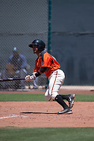 San Francisco Giants Orange shortstop Anyesber Sivira (32) starts down the first base line during an Extended Spring Training game against the Seattle Mariners at the San Francisco Giants Training Complex on May 28, 2018 in Scottsdale, Arizona. (Zachary Lucy/Four Seam Images)