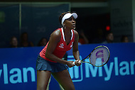 Washington, DC - July 14, 2015: Washington Kastles' Venus Williams prepares for a serve in a singles match against Nicole Gibbs of the Austin Aces during week 3 of the World Team Tennis 2015 season, July 14, 2015, at the Kastles' Stadium in the District of Columbia. The Austin Aces won 22-17 over the Kastles. Williams is currently ranked 15th in the world. (Photo by Don Baxter/Media Images International)