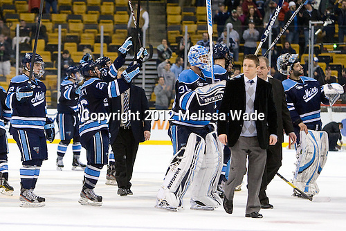 The Black Bears salute their fans. - The University of Maine Black Bears defeated the Boston University Terriers in their Hockey East semi-final 5-3 (EN) on Friday, March 16, 2012, at TD Garden in Boston, Massachusetts.