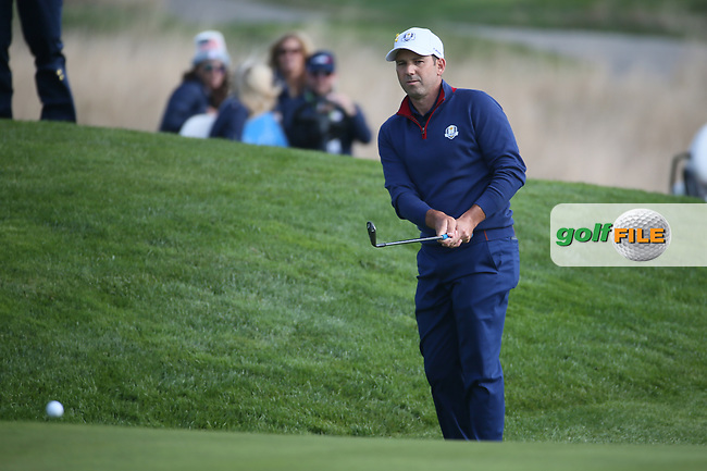 Sergio Garcia (Team Europe) on the 8th during Friday's Foursomes, at the Ryder Cup, Le Golf National, Île-de-France, France. 28/09/2018.<br /> Picture David Lloyd / Golffile.ie<br /> <br /> All photo usage must carry mandatory copyright credit (© Golffile | David Lloyd)