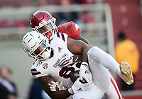 NWA Democrat-Gazette/CHARLIE KAIJO Mississippi State tight end Farrod Green (82) makes a catch for a score as Arkansas defensive back Kamren Curl (2) covers, Saturday, November 2, 2019 during the third quarter of a football game at Donald W. Reynolds Razorback Stadium in Fayetteville. Visit nwadg.com/photos to see more photographs from the game.