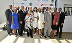 MIAMI GARDENS, FL - MAY 12: Margaret Porter-Hall,President, Florida Memorial University National Alumni Association, Dr. Gershwin T. Blyden, Trustee Ricardo Forges, Min. Horace C. Hord,Jr., Dr. George Davis, Trustee John Ruffin, Former Miami-Dade County Commissioner Betty T. Ferguson, Dr. Roslyn Clark Artis-President of Florida Memorial University, Trustee Walter Weatherington, Trustee JoLinda Herring, Chairman Charles W. George, Trustee Marc Henderson and Duran Saunders-FMU SGA President attends the Opening of  Florida Memorial University's  Multi-Purpose Arena and Wellness Education Center and the Launch of their Health Matters Movement at Florida Memorial University on Thursday May 12, 2016 in Miami Gardens, Florida.  ( Photo by Johnny Louis / jlnphotography.com )