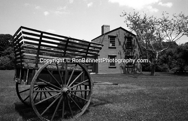 Wagon on green lawn with  New England home in background, wagon, Red New England home, New England States, six-state region, Connecticut, Massachusetts, Rhode Island, thriving tourist industry, If you don't like the weather, wait ten minutes, Fine Art Photography by Ron Bennett, Fine Art, Fine Art photography, Art Photography, Copyright RonBennettPhotography.com ©