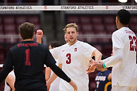 STANFORD, CA - January 5, 2019: Paul Bischoff, Kyle Dagostino, Jaylen Jasper at Maples Pavilion. The Stanford Cardinal defeated UC Santa Cruz 25-11, 25-17, 25-15.