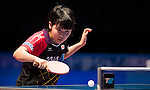 Miu Hirano (JPN) vs Feng Tianwei (SGP) during the Seamaster Qatar 2016 ITTF World Tour Grand Finals at the Ali Bin Hamad Al Attiya Arena on 9 December 2016, in Doha, Qatar. Photo by Victor Fraile / Power Sport Images
