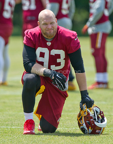 Washington Redskins defensive end Trent Murphy (93) looks on as his teammates participate in an organized team activity (OTA) at Redskins Park in Ashburn, Virginia on Wednesday, May 25, 2015.<br /> Credit: Ron Sachs / CNP/MediaPunch ***FOR EDITORIAL USE ONLY***