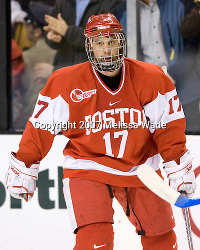 Eric Thomassian (BU - 17) - The Boston University Terriers defeated the Boston College Eagles 2-1 (OT) in the Beanpot final on Monday, February 12, 2007, at TD Banknorth Garden in Boston, Massachusetts.