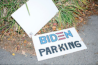"A sign reading ""Biden Parking"" indicates the parking area for attendees at a campaign event for Democratic presidential candidate and former Vice President Joe Biden at the Governor's Inn and Restaurant in Rochester, New Hampshire, on Wed., October 9, 2019. At this event, Biden said for the first time that he supported the impeachment inquiry against current President Donald Trump."