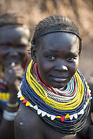 ETHIOPIA, Southern Nations, Lower Omo valley, Kangaten, village Kakuta, Nyangatom tribe, woman with traditional beads necklace / AETHIOPIEN, Omo Tal, Kangaten, Dorf Kakuta, Nyangatom Hirtenvolk, Frau mit traditioneller Halskette aus Perlen
