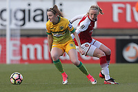 Ella Pusey of Yeovil and Louise Quinn of Arsenal during Arsenal Women vs Yeovil Town Ladies, FA Women's Super League FA WSL1 Football at Meadow Park on 11th February 2018