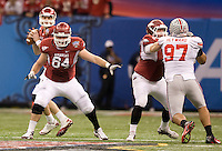 Travis Swanson of Arkansas in action against Ohio State during 77th Annual Allstate Sugar Bowl Classic at Louisiana Superdome in New Orleans, Louisiana on January 4th, 2011.  Ohio State defeated Arkansas, 31-26.