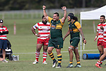 Troy Butcher celebrates Pukekohes come from behind win as the final whistle is blown. Counties Manukau Premier Counties Power Club Rugby game between Karaka and Pukekohe, played at the Karaka Sports Park on Saturday March 10th 2018. Pukekohe won the game 31 - 27 after trailing 5 - 20 at halftime.<br /> Photo by Richard Spranger.
