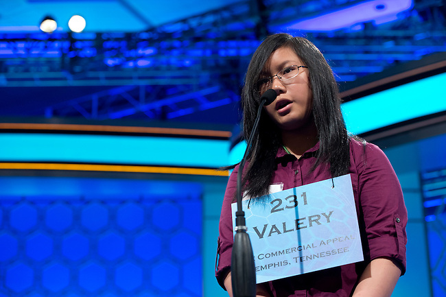 Speller 231 Valery T. Nguyen-Au competes in the preliminary rounds of the Scripps National Spelling Bee at the Gaylord National Resort and Convention Center in National Habor, Md., on Wednesday,  May 30, 2012. Photo by Bill Clark