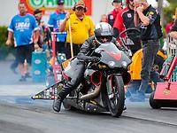 Mar 16, 2019; Gainesville, FL, USA; NHRA pro stock motorcycle rider John Hall during the Gatornationals at Gainesville Raceway. Mandatory Credit: Mark J. Rebilas-USA TODAY Sports
