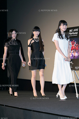 (L to R) Members of the Japanese pop girl group Perfume Nocchi, Kashiyuka and A-chan attend a stage greeting for the movie ''WE ARE Perfume WORLD TOUR 3rd DOCUMENT'' at TOHO CINEMAS in Roppongi on October 24, 2015, Tokyo, Japan. Perfume's movie will be released in Japanese theaters on October 31. The screening is part of the 28th Tokyo International Film Festival which is one of the biggest film festivals in Asia and runs from October 22 to Saturday 31. (Photo by Rodrigo Reyes Marin/AFLO)