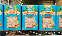 Boxes of imported La Perruche brand cubes of cane sugar from the French Béghin-Say company  in a grocery store in New York on Thursday, February 20, 2014.  (© Richard B. Levine)
