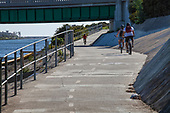 Bicycle path along Ballona Creek, Marina Del Rey, Los Angeles, California, USA