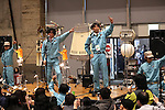 February 19, 2017, Chiba, Japan - Members of Japan's art unit Maywa Denki, Masamichi Tosa (2nd R) and his younger brother Novmichi (2nd L) play music with their unique instrument gadgets for their live performance at the Wonder Festival 2017 Winter at Chiba, suburban Tokyo on Sunday, February 19, 2017. Novmichi Tosa unveiled his new gadget Parabora at the plastic -model trade show.    (Photo by Yoshio Tsunoda/AFLO) LwX -ytd-