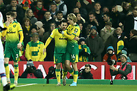 1st January 2020; Carrow Road, Norwich, Norfolk, England, English Premier League Football, Norwich versus Crystal Palace; Todd Cantwell of Norwich City celebrates with Emi Buendia after he scores for 1-0 in the 4th minute - Strictly Editorial Use Only. No use with unauthorized audio, video, data, fixture lists, club/league logos or 'live' services. Online in-match use limited to 120 images, no video emulation. No use in betting, games or single club/league/player publications