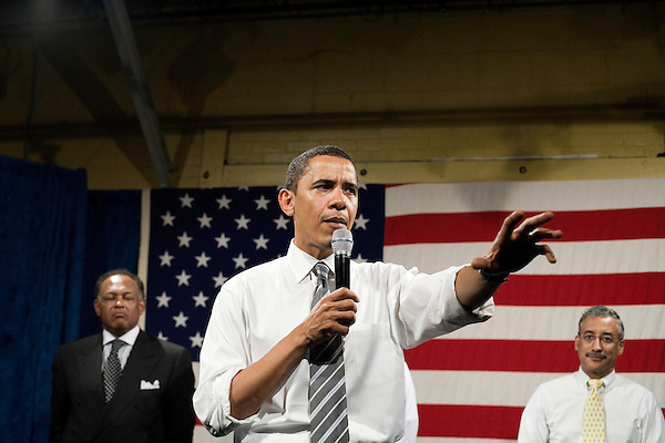 "Tuesday, May 8,  2007. Richmond, VA.. US Presidential candidate and senator Barack Obama, held what was billed as a ""low dollar fundraiser"" at Plant Zero in Richmond, VA, drawing a crowd of 700 supporters.. He was joined on stage by (l to r) Chair of the Virginia Legislative Black Caucus Dwight Jones and congressman Bobby Scott."