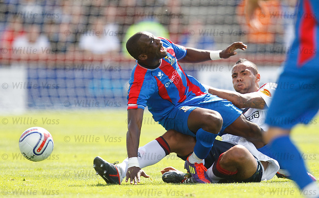 Kyle Bartley goes through the back of Gregory Tade