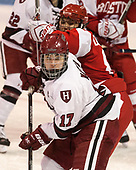 Briana Mastel (Harvard - 17), Deziray De Sousa (BU - 8) - The Harvard University Crimson tied the Boston University Terriers 6-6 on Monday, February 7, 2017, in the Beanpot consolation game at Matthews Arena in Boston, Massachusetts.