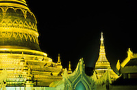 The Shwedagon Pagoda at night Yangon, Myanmar, Burma,