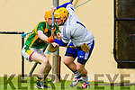 Robert Collins Kilmoyley in action against Darren Delaney Saint Brendan's in the County Senior Hurling Final at Abbeydorney on Sunday.