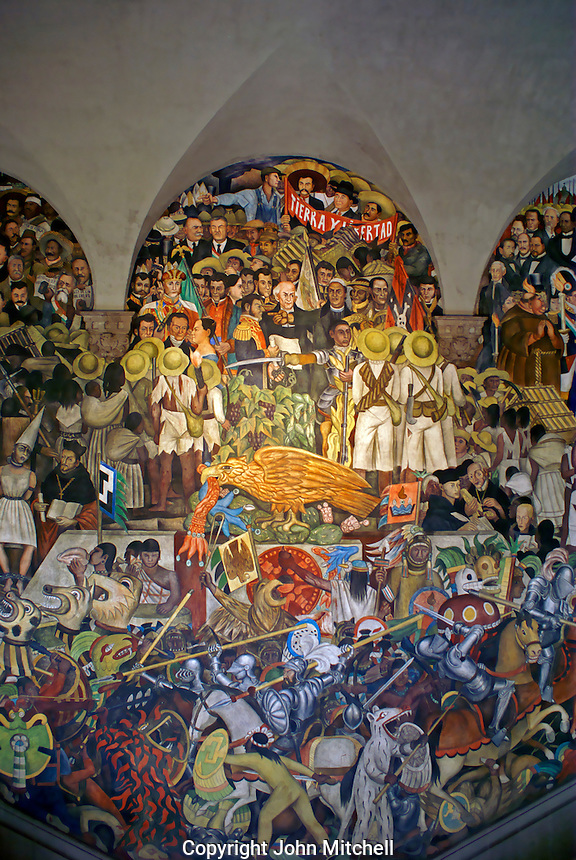 Mural by Diego Rivers depicting the history of Mexico, National Palace or Palacio Nacional, Mexico City