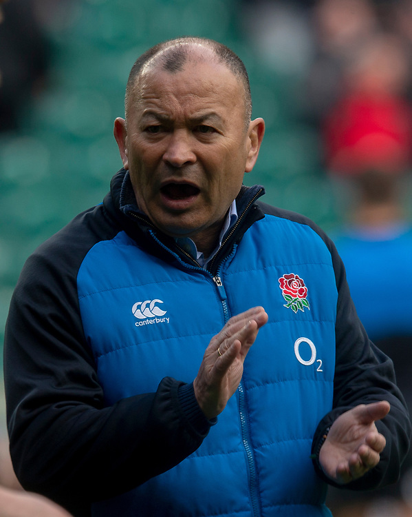 England's Head Coach Eddie Jones<br /> <br /> Photographer Bob Bradford/CameraSport<br /> <br /> Guinness Six Nations Championship - England v France - Sunday 10th February 2019 - Twickenham Stadium - London<br /> <br /> World Copyright © 2019 CameraSport. All rights reserved. 43 Linden Ave. Countesthorpe. Leicester. England. LE8 5PG - Tel: +44 (0) 116 277 4147 - admin@camerasport.com - www.camerasport.com