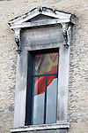 National flag of Spain reflected in a window of the National Library.May 27,2013. (ALTERPHOTOS/Acero)