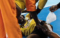 23 NOV 2011 - LONDON, GBR -  Angola's Luisa Kiala receives treatment during the 2011 London Handball Cup match against Great Britain at The Handball Arena in the Olympic Park in Stratford, London (PHOTO (C) NIGEL FARROW)