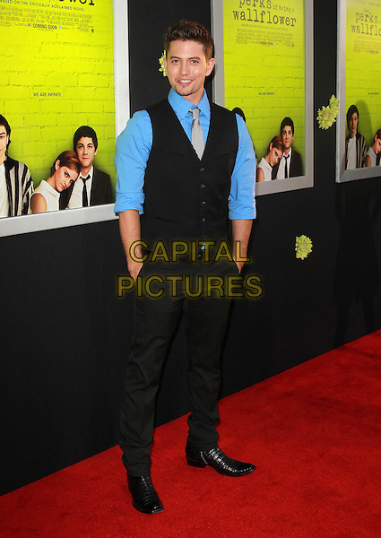 "Jackson Rathbone.Premiere Of Summit Entertainment's ""The Perks Of Being A Wallflower"" Held At ArcLight Cinemas, Hollywood, California, USA..September 10th, 2012.full length blue shirt black waistcoat trousers hands in pockets .CAP/ADM/KB.©Kevan Brooks/AdMedia/Capital Pictures."