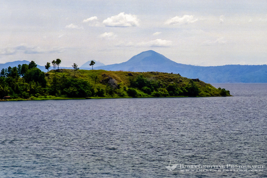 Indonesia, Sumatra. Samosir. Looking north from the mainland towards Samosir. There are some high moiuntains around Danau Toba.